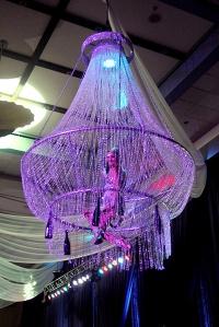 corporate events chandelier aerial bartenders
