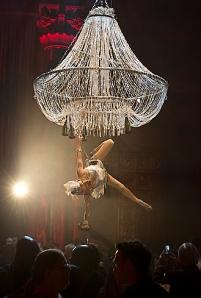 Aerial Bartender -human champagne chandelier