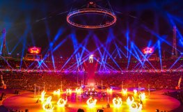 A firework display during the opening ceremony. Jonathan Nackstrand/AFP/Getty Images